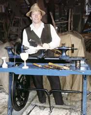 Stuart at a Victorian treadle lathe