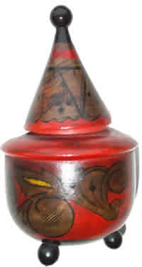 Khokhloma container of unusual shape