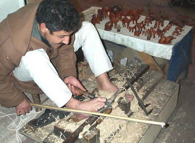 Bow lathe turner in Marrakesh