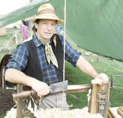 Stuart at the pole lathe