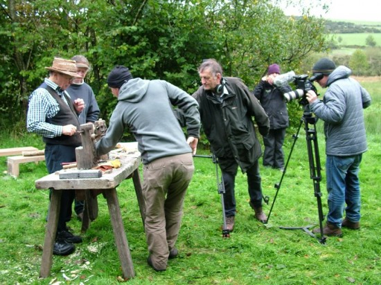 Stuart King filming BBC doc re 4000 BC  Bronze Age  cist burial,  Dartmoor, Oct 2013--