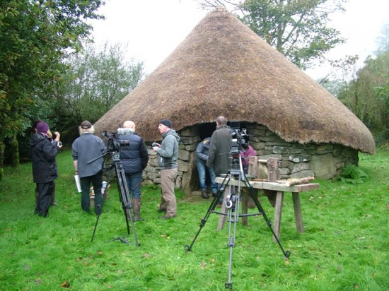 Stuart King filming BBC doc re 4000 BC  Bronze Age  cist burial,  Dartmoor, Oct 2013-- (2)