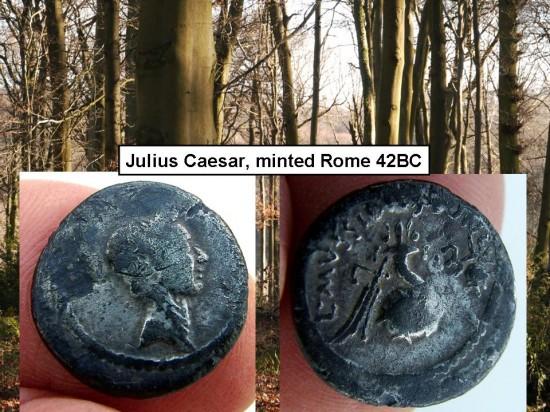 Wildwood, Julius Caesar silver denarius 42 BC
