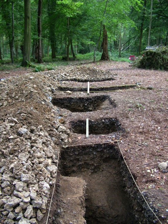 NW corner alinement trenches