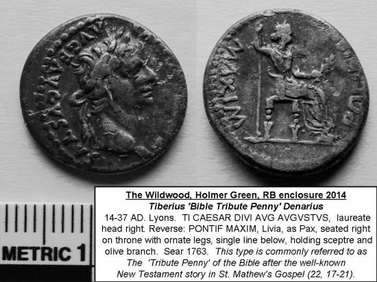 Tiberius Roman Emperor 14-AD to-37 AD silver denarius RB enclosure