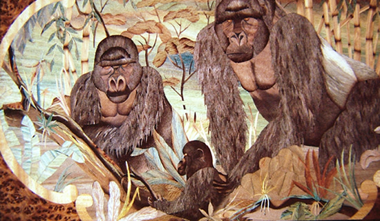 A marquetry panel of gorillas, all knife work by Stuart King